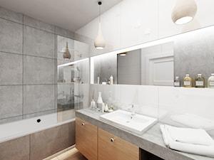Warszawa - mieszkanie - Średnia beżowa szara łazienka w bloku bez okna, styl skandynawski - zdjęcie od More-IN Architekci