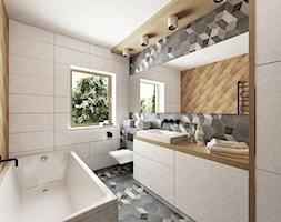 Koszalin - domek jednorodzinny - Średnia beżowa brązowa szara łazienka w domu jednorodzinnym z oknem, styl skandynawski - zdjęcie od More-IN Architekci