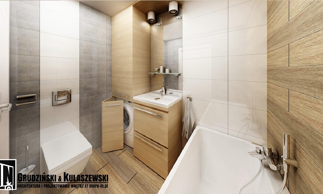 szare płytki w łazience, białe płytki w łazience, beżowe płytki, pralka w zabudowie