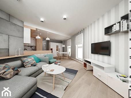 Aranżacje wnętrz - Salon: Mieszkanie w Katowicach 65m² - Średni szary biały salon z kuchnią z jadalnią, styl skandynawski - More-IN Architekci. Przeglądaj, dodawaj i zapisuj najlepsze zdjęcia, pomysły i inspiracje designerskie. W bazie mamy już prawie milion fotografii!