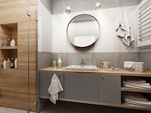 Mieszkanie w Katowicach 65m² - Średnia beżowa brązowa szara łazienka w bloku bez okna, styl skandynawski - zdjęcie od More-IN Architekci