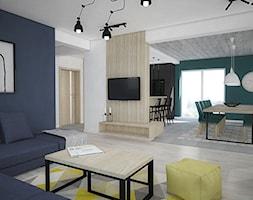 Kolor w domu - Średni biały niebieski salon z kuchnią z jadalnią, styl skandynawski - zdjęcie od Antracyt - Homebook