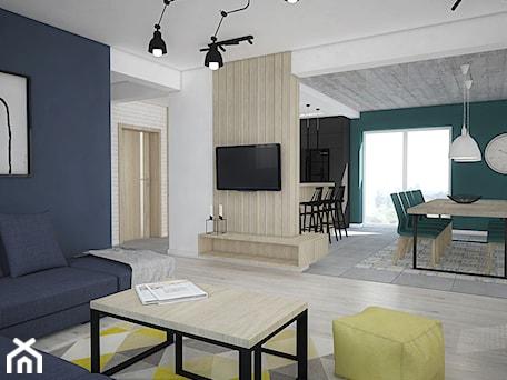 Aranżacje wnętrz - Salon: Kolor w domu - Średni biały niebieski salon z kuchnią z jadalnią, styl skandynawski - Antracyt. Przeglądaj, dodawaj i zapisuj najlepsze zdjęcia, pomysły i inspiracje designerskie. W bazie mamy już prawie milion fotografii!
