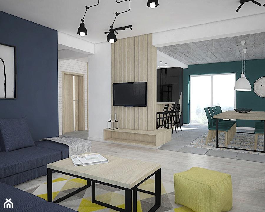 Kolor w domu - Średni biały niebieski salon z kuchnią z jadalnią, styl skandynawski - zdjęcie od Antracyt