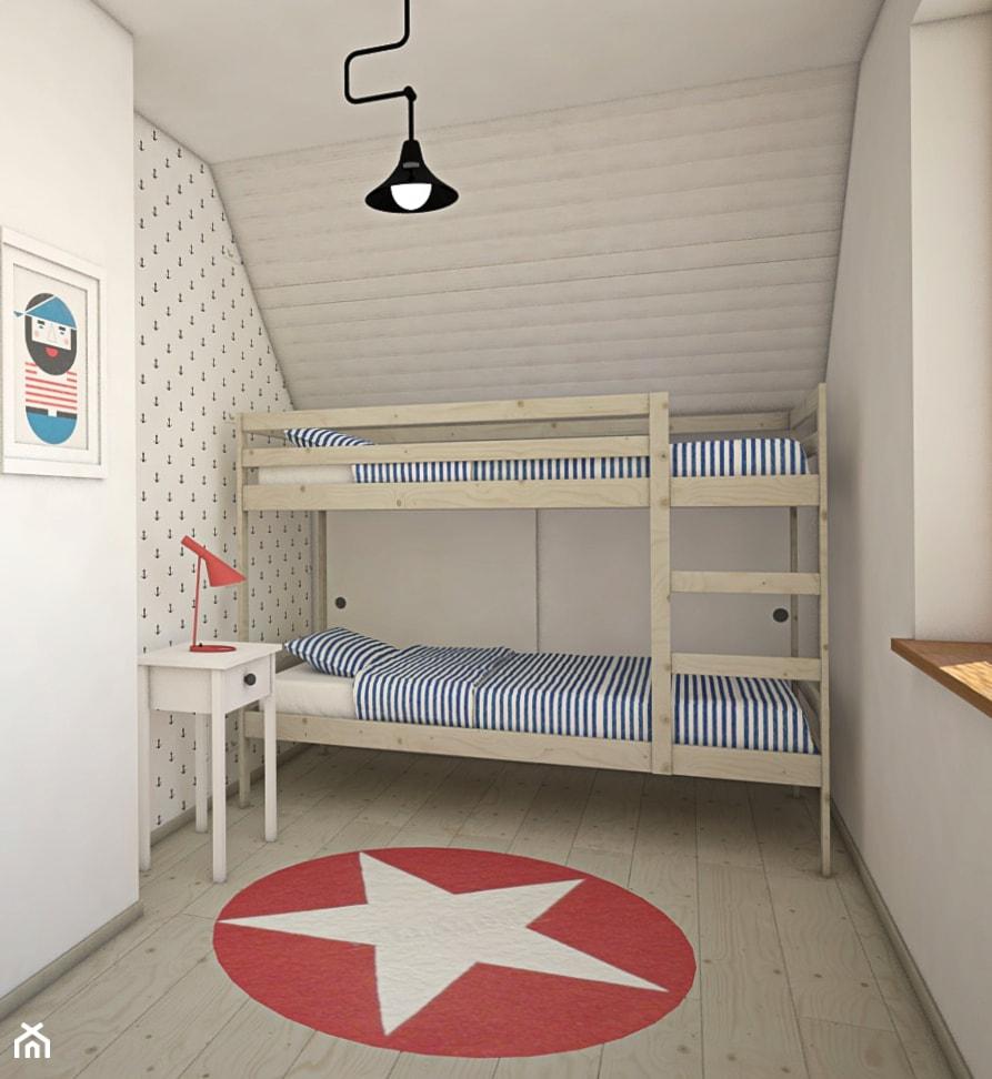 Dom na Mazurach - Mały szary pokój dziecka dla chłopca dla dziewczynki dla rodzeństwa dla malucha dla nastolatka, styl skandynawski - zdjęcie od Antracyt