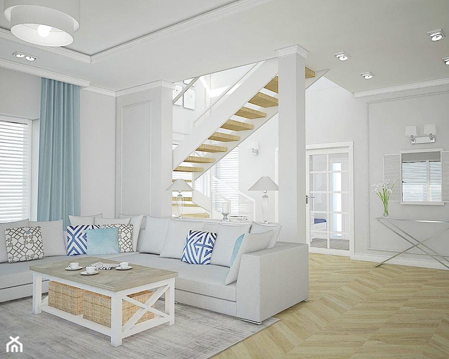 Dom pod Warszawą - Średni biały salon z antresolą, styl nowojorski - zdjęcie od Antracyt