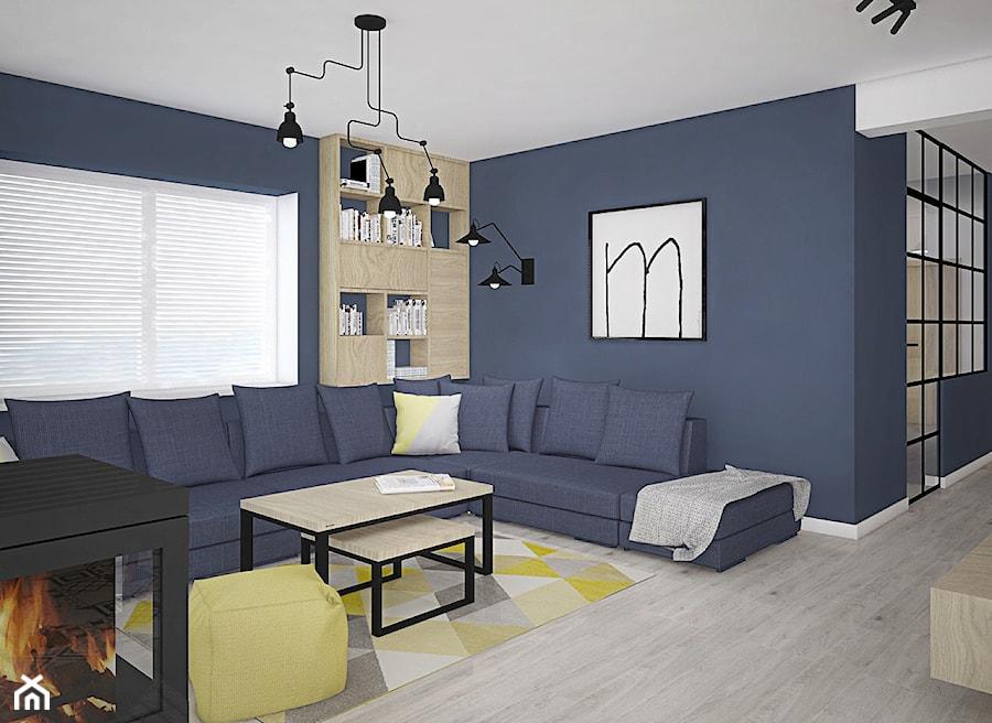 Kolor w domu - Duży niebieski salon, styl skandynawski - zdjęcie od Antracyt