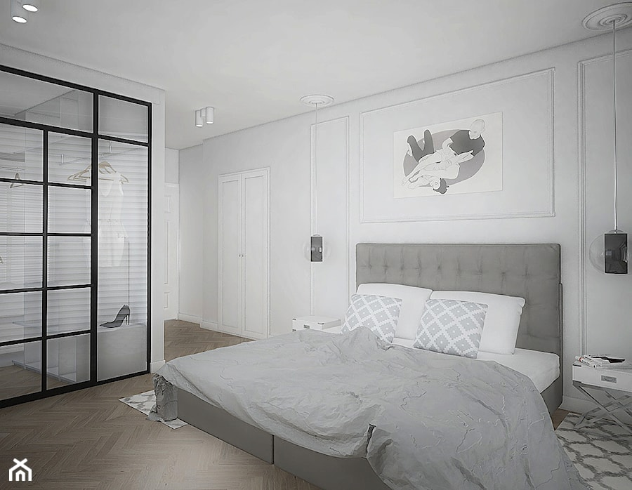 """Projekt wnętrz w """"kostce"""" - Sypialnia, styl eklektyczny - zdjęcie od Antracyt"""