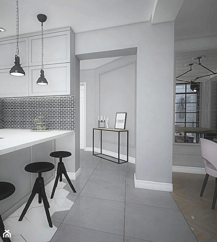 """Projekt wnętrz w """"kostce"""" - Średnia otwarta szara kuchnia w kształcie litery l z oknem, styl eklekt ... - zdjęcie od Antracyt"""