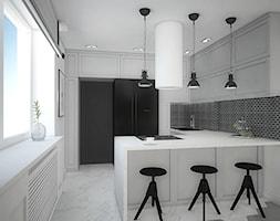 """Projekt wnętrz w """"kostce"""" - Średnia otwarta biała czarna kuchnia w kształcie litery g z oknem, styl ... - zdjęcie od Antracyt - Homebook"""