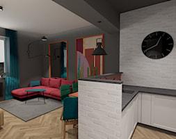 Kawalerka w kamienicy - Średnia otwarta szara kuchnia w kształcie litery u w aneksie, styl vintage - zdjęcie od MONOdizajn Architektura i Wnętrza