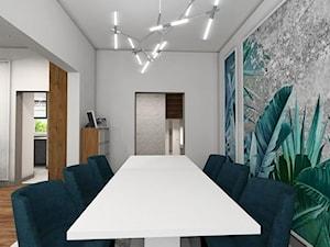 Nowoczesna klasyka - Średnia otwarta biała zielona jadalnia jako osobne pomieszczenie, styl art deco - zdjęcie od MONOdizajn Architektura i Wnętrza