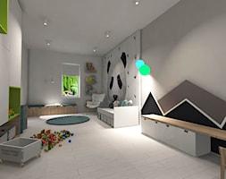 Białe wnętrze - Duży szary czarny pokój dziecka dla chłopca dla dziewczynki dla ucznia dla malucha, styl nowoczesny - zdjęcie od MONOdizajn Architektura i Wnętrza