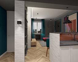 Kawalerka w kamienicy - Mały biały niebieski hol / przedpokój, styl vintage - zdjęcie od MONOdizajn Architektura i Wnętrza