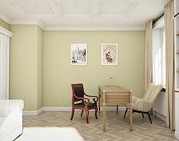 """Dom pod Warszawą - """"New York Style"""" - Duże zielone biuro domowe kącik do pracy w pokoju, styl klasyczny - zdjęcie od noomo studio architektury"""