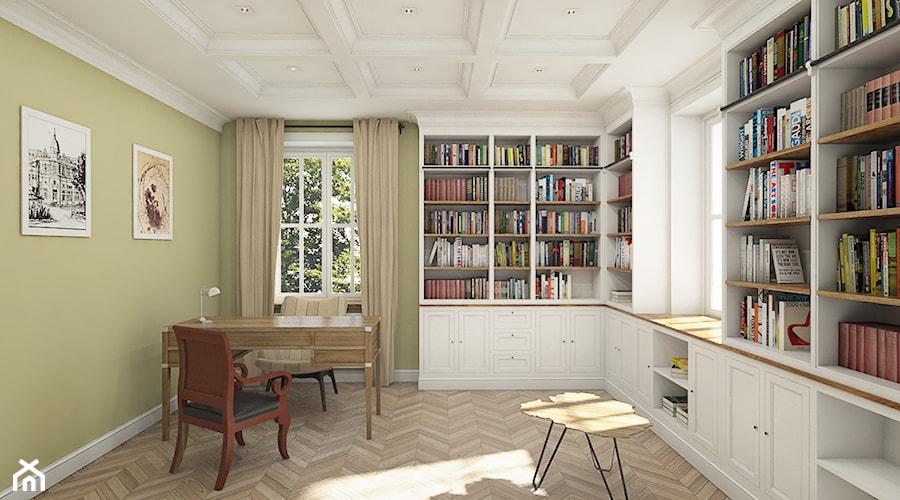 """Dom pod Warszawą - """"New York Style"""" - Duże zielone białe biuro domowe w pokoju, styl klasyczny - zdjęcie od noomo studio architektury"""