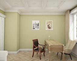 """Dom pod Warszawą - """"New York Style"""" - Duże żółte biuro domowe w pokoju, styl klasyczny - zdjęcie od noomo studio architektury"""