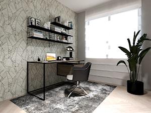 PONADCZASOWY APARTAMENT DO WYNAJĘCIA - Średnie szare białe biuro domowe kącik do pracy w pokoju, styl nowoczesny - zdjęcie od MARTA PERSKA INTERIORS