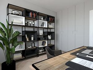 PONADCZASOWY APARTAMENT DO WYNAJĘCIA - Średnie szare biuro domowe kącik do pracy w pokoju, styl nowoczesny - zdjęcie od MARTA PERSKA INTERIORS