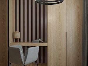 MINIMALISTYCZNY APARTAMENT NA POWIŚLU - Małe biuro kącik do pracy w pokoju, styl nowoczesny - zdjęcie od MARTA PERSKA INTERIORS