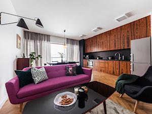 SALON VINTAGE - Średni biały salon z kuchnią z jadalnią, styl vintage - zdjęcie od MARTA PERSKA INTERIORS