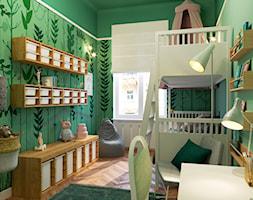 LEŚNY POKÓJ DZIECIĘCY - Średni zielony pokój dziecka dla chłopca dla dziewczynki dla rodzeństwa dla ucznia dla nastolatka, styl eklektyczny - zdjęcie od MARTA PERSKA studio projektowania wnętrz