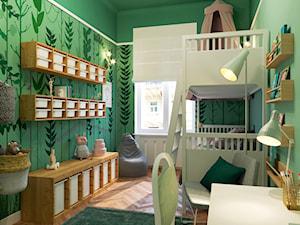 LEŚNY POKÓJ DZIECIĘCY - Średni zielony pokój dziecka dla chłopca dla dziewczynki dla rodzeństwa dla ucznia dla nastolatka, styl eklektyczny - zdjęcie od MARTA PERSKA INTERIORS