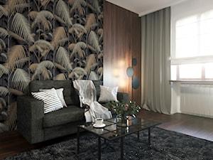 MODERN BROWN - Średnie szare zielone biuro domowe kącik do pracy w pokoju, styl nowoczesny - zdjęcie od MARTA PERSKA INTERIORS