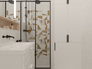 KAWALERKA NA WYNAJEM W CENTRUM MIASTA - Mała biała łazienka w bloku w domu jednorodzinnym bez okna, styl nowoczesny - zdjęcie od MARTA PERSKA INTERIORS