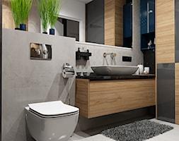 Projekt nowoczesnego mieszkania M01_2019 Wrocław - Średnia szara łazienka w bloku w domu jednorodzinnym bez okna, styl nowoczesny - zdjęcie od Aretzky Design