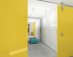 Korytarz wejściowy z garderobą, dom jednorodzinny - Duża zamknięta garderoba, styl minimalistyczny - zdjęcie od meinDESIGN