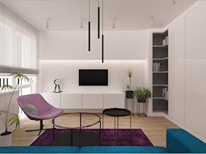 Wnętrze kawalerki, Bydgoszcz - Średni biały salon z tarasem / balkonem, styl nowoczesny - zdjęcie od meinDESIGN