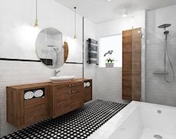 łazienka Z Szafką Pod Umywalkę Z Drewnianym Blatem