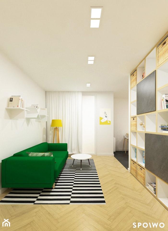 M3 Bronowice - Mały biały salon z jadalnią, styl skandynawski - zdjęcie od SPOIWO studio - Homebook