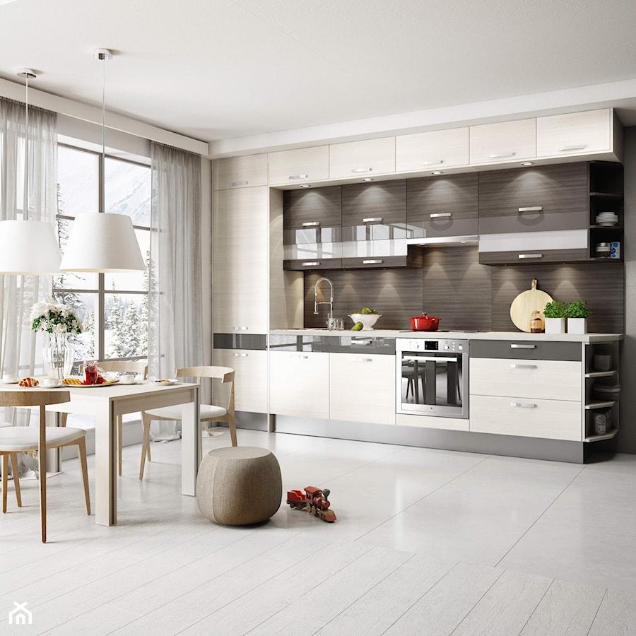 Piękna zabudowa kuchenna pod sam sufit  zdjęcie od   -> Kuchnia Biala Szafki Do Sufitu