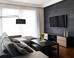 Apartament z czarną cegłą - Średni kolorowy salon, styl nowoczesny - zdjęcie od Kwadraton