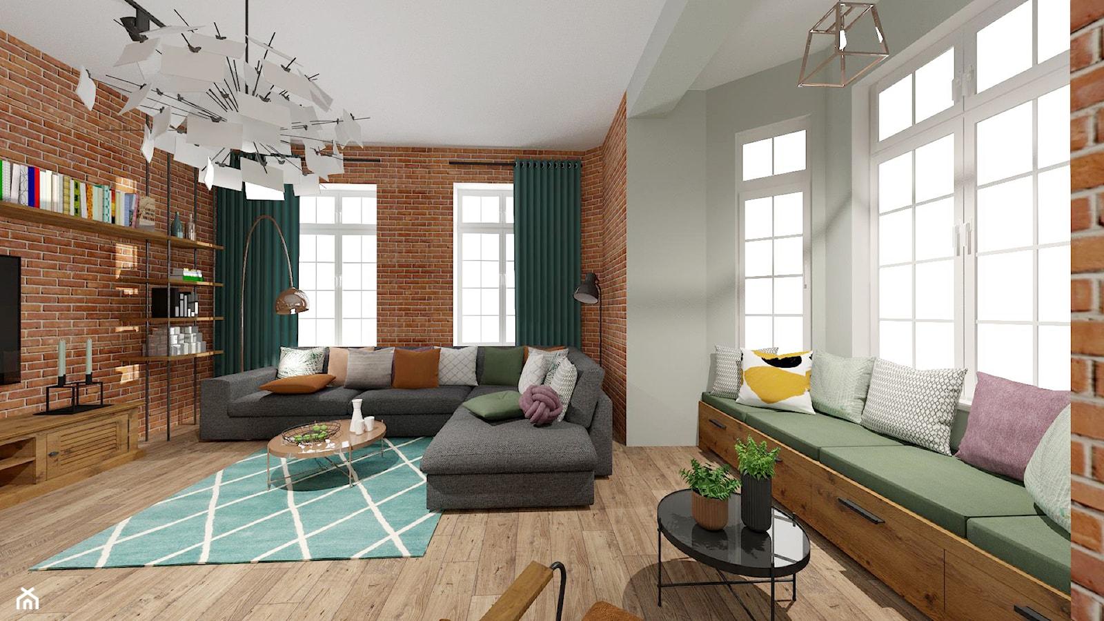 Brick Wall - mieszkanie w Kamienicy - Duży szary salon z bibiloteczką - zdjęcie od Kwadraton - Homebook