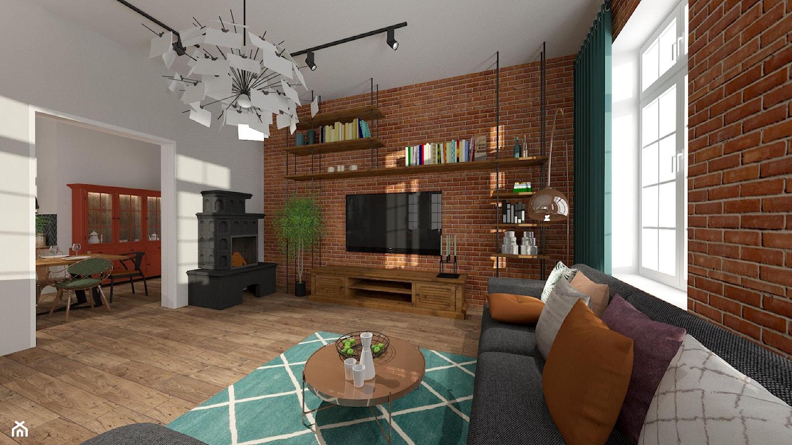 Brick Wall - mieszkanie w Kamienicy - Duży szary salon z jadalnią - zdjęcie od Kwadraton - Homebook