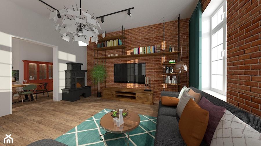 Brick Wall - mieszkanie w Kamienicy - Duży szary salon z jadalnią - zdjęcie od Kwadraton