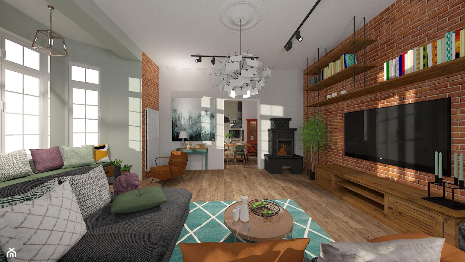 Brick Wall - mieszkanie w Kamienicy - Duży biały salon - zdjęcie od Kwadraton - Homebook