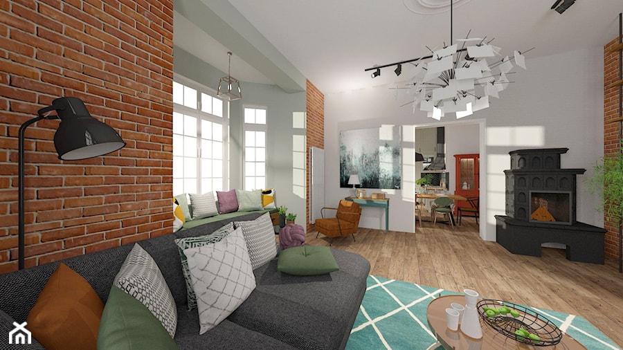 Brick Wall - mieszkanie w Kamienicy - Średni biały salon z jadalnią - zdjęcie od Kwadraton