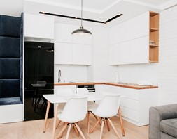 salon styl skandynawski - Mała średnia otwarta kuchnia w kształcie litery l w aneksie, styl skandynawski - zdjęcie od 1metr2.pl
