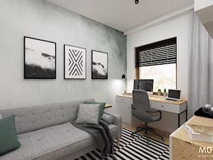 MOTHI.FORM ⋅ INDUSTRIALNY DOM ⋅ KOKOTÓW - Średnie szare białe biuro domowe kącik do pracy w pokoju, styl industrialny - zdjęcie od MOTHI.form