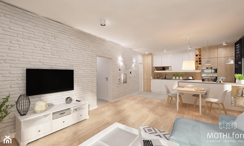 Skandynawska jadalnia połączona z salonem -- Druga część wnętrza została zaaranżowana jako przytulna przestrzeń jadaln ...