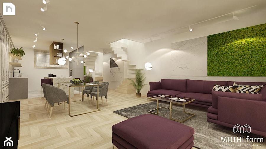 Salon z aneksem kuchennym i jadalnią - zdjęcie od MOTHI.form