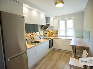 mieszkanie dla singla - Średnia otwarta wąska biała beżowa brązowa kuchnia w kształcie litery u, styl minimalistyczny - zdjęcie od Tektura Studio