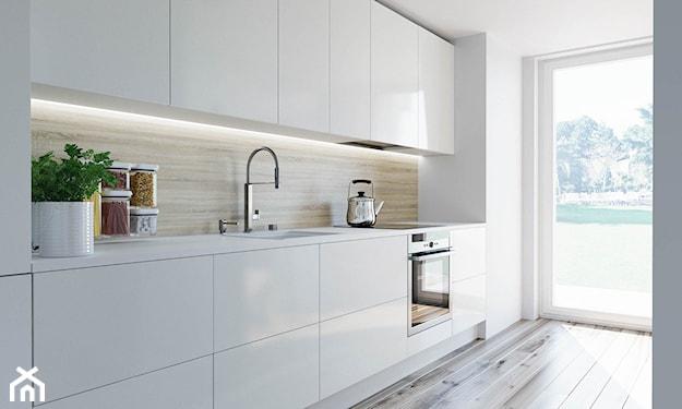 białe meble kuchenne, kuchnia skandynawska, płytki podłogowe z imitacją drewna