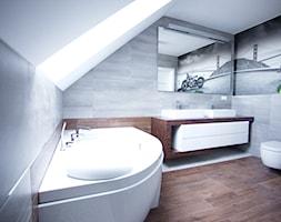 Bliźniak w Gruszczynie - Średnia biała szara łazienka na poddaszu w domu jednorodzinnym z oknem, styl nowoczesny - zdjęcie od Norbert Perliński