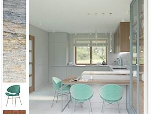 Kuchenna metamorfoza - Duża szara kuchnia w kształcie litery u w aneksie z wyspą z oknem, styl nowoczesny - zdjęcie od SAJE ARCHITEKCI Joanna Morkowska-Saj