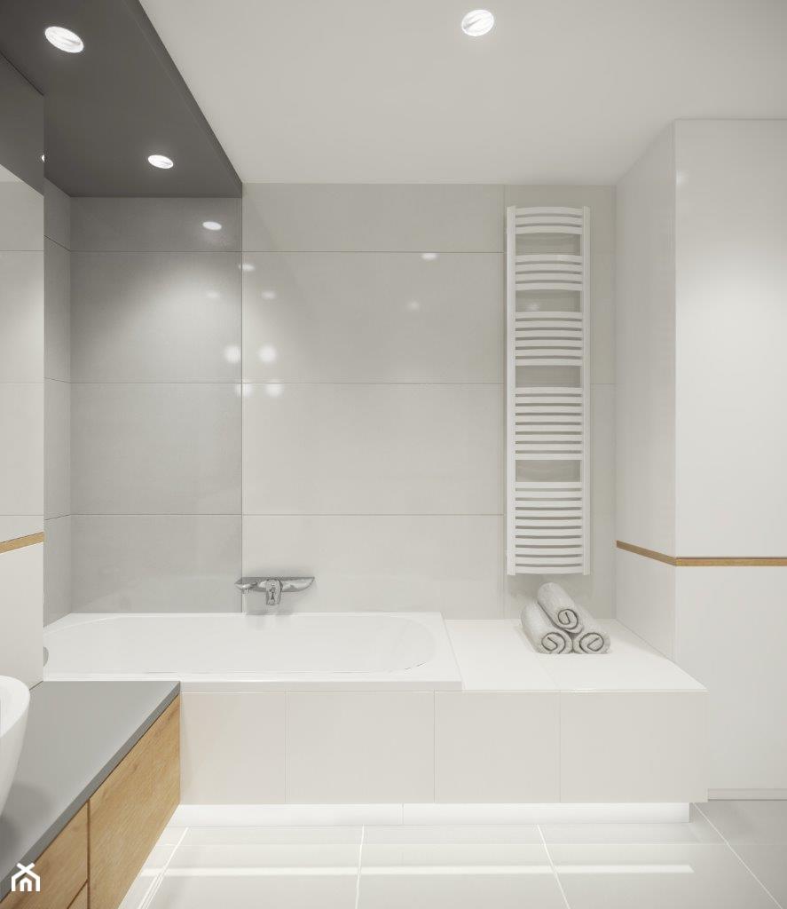 mieszkanie na wynajem w Gdyni - Średnia biała łazienka w bloku w domu jednorodzinnym bez okna, styl skandynawski - zdjęcie od SAJE ARCHITEKCI Joanna Morkowska-Saj
